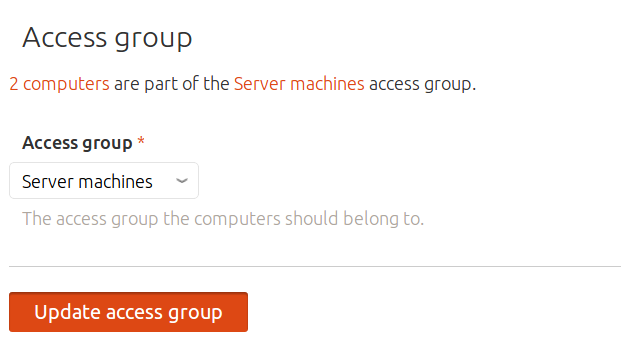 Access group drop-down